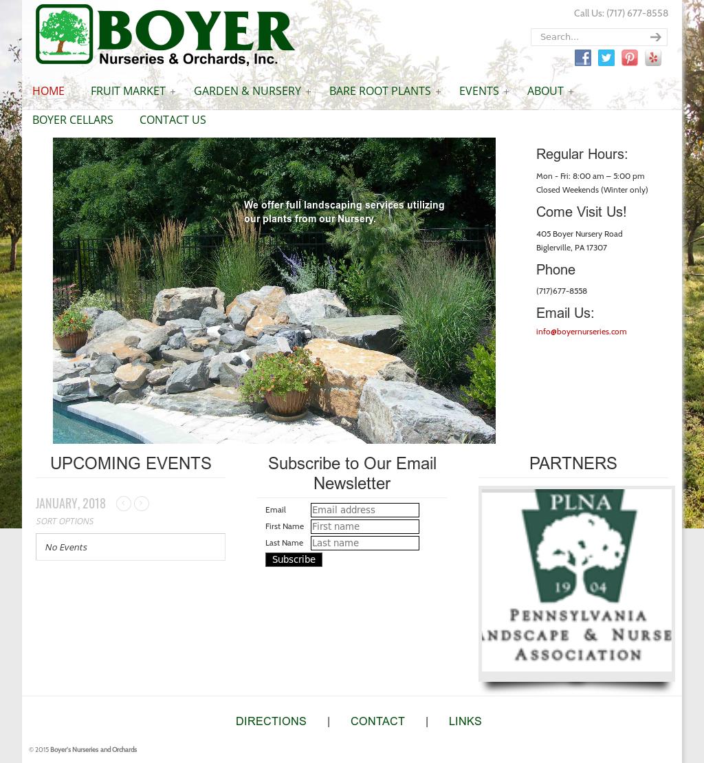 Boyer Nurseries Orchards Website History