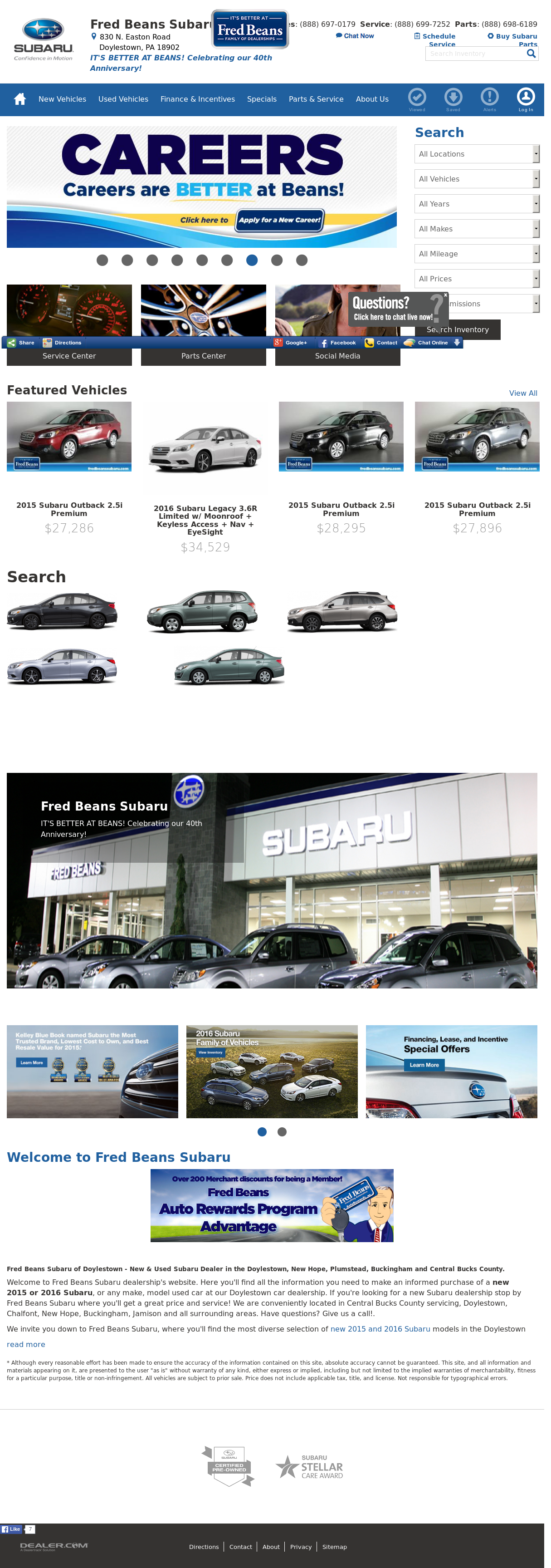 Fred Beans Subaru >> Fred Beans Doylestown | News of New Car Release