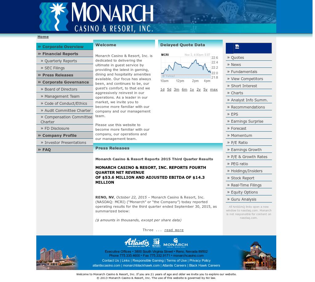 Monarch Casino & Resort Competitors, Revenue and Employees