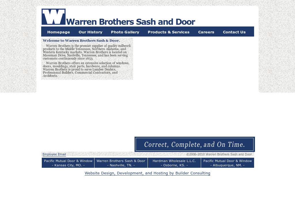 Warren Brothers Sash U0026 Door Website History