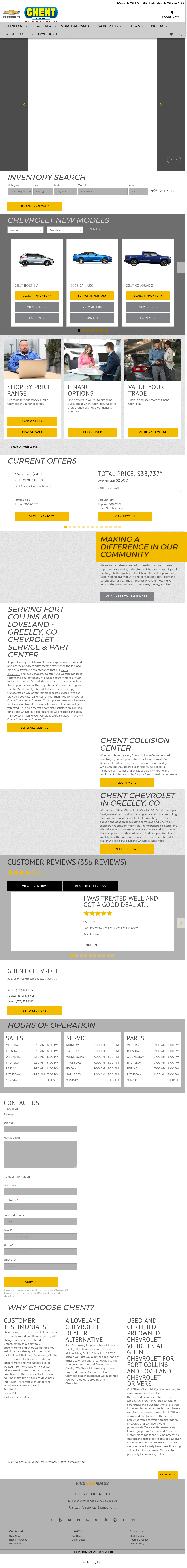 Ghent Chevrolet Website History