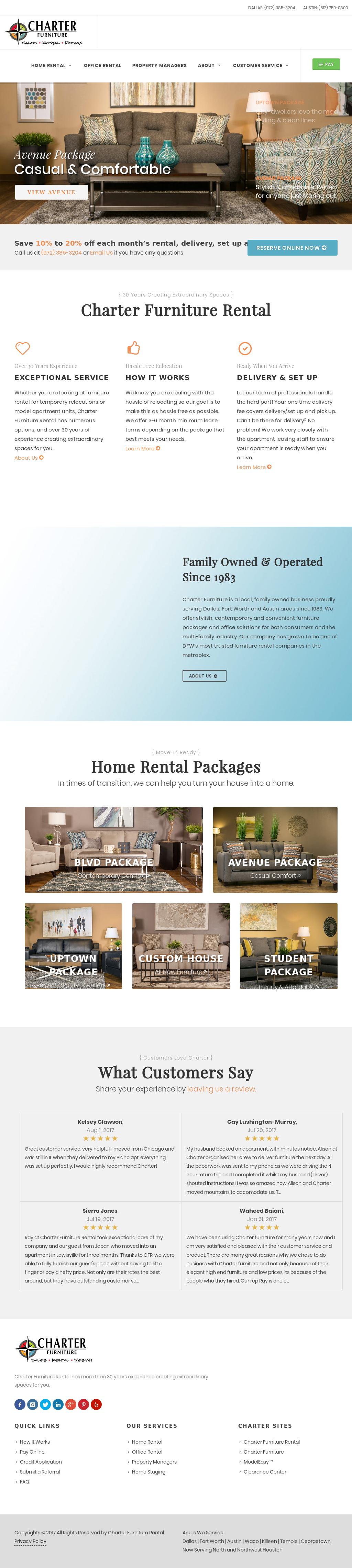Charter Furniture Rental Website History