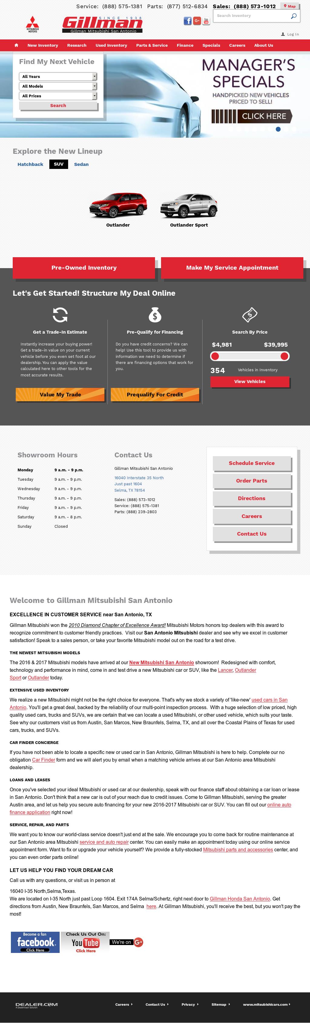 Marvelous Gillman Mitsubishi Of San Antonio Website History