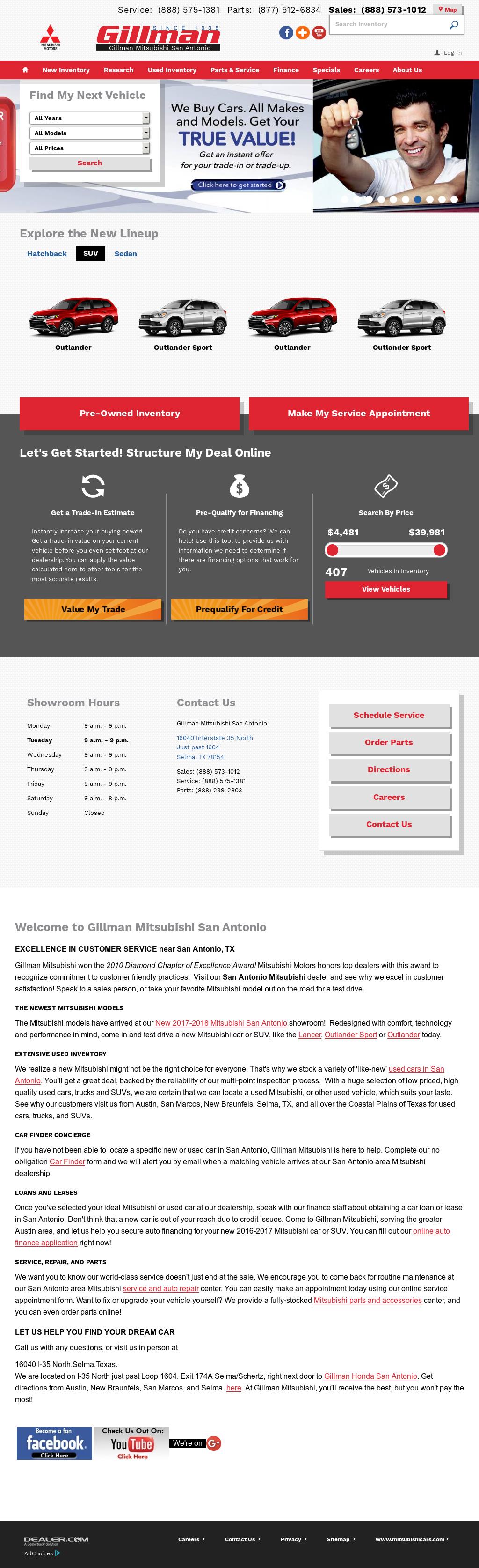 Good Gillman Mitsubishi Of San Antonio Website History