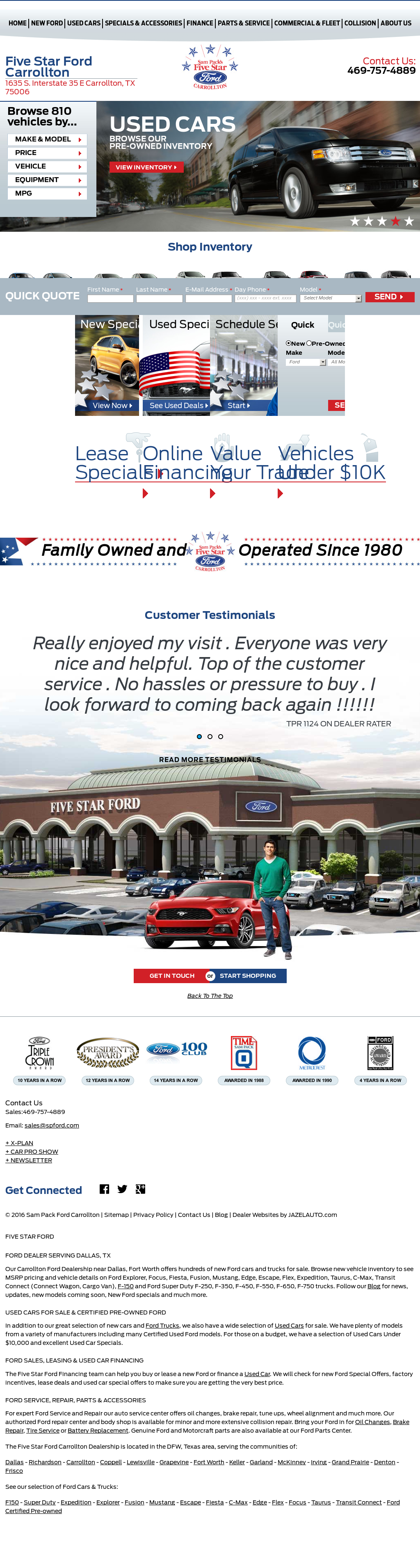 Sam Pack s Five Star Ford petitors Revenue and Employees Owler