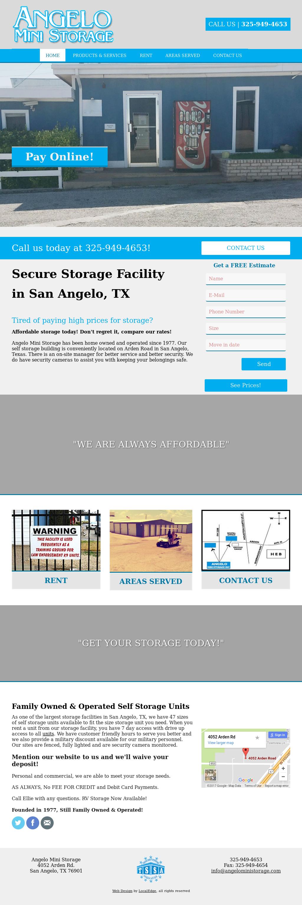 Angelo Mini Storage Website History