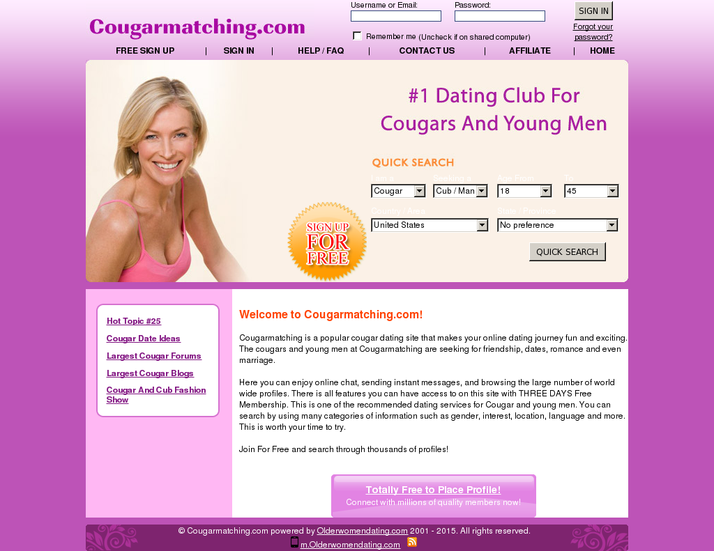 free to message cougar dating