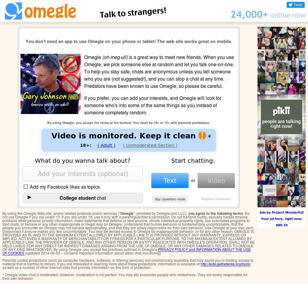 Omegle website chat
