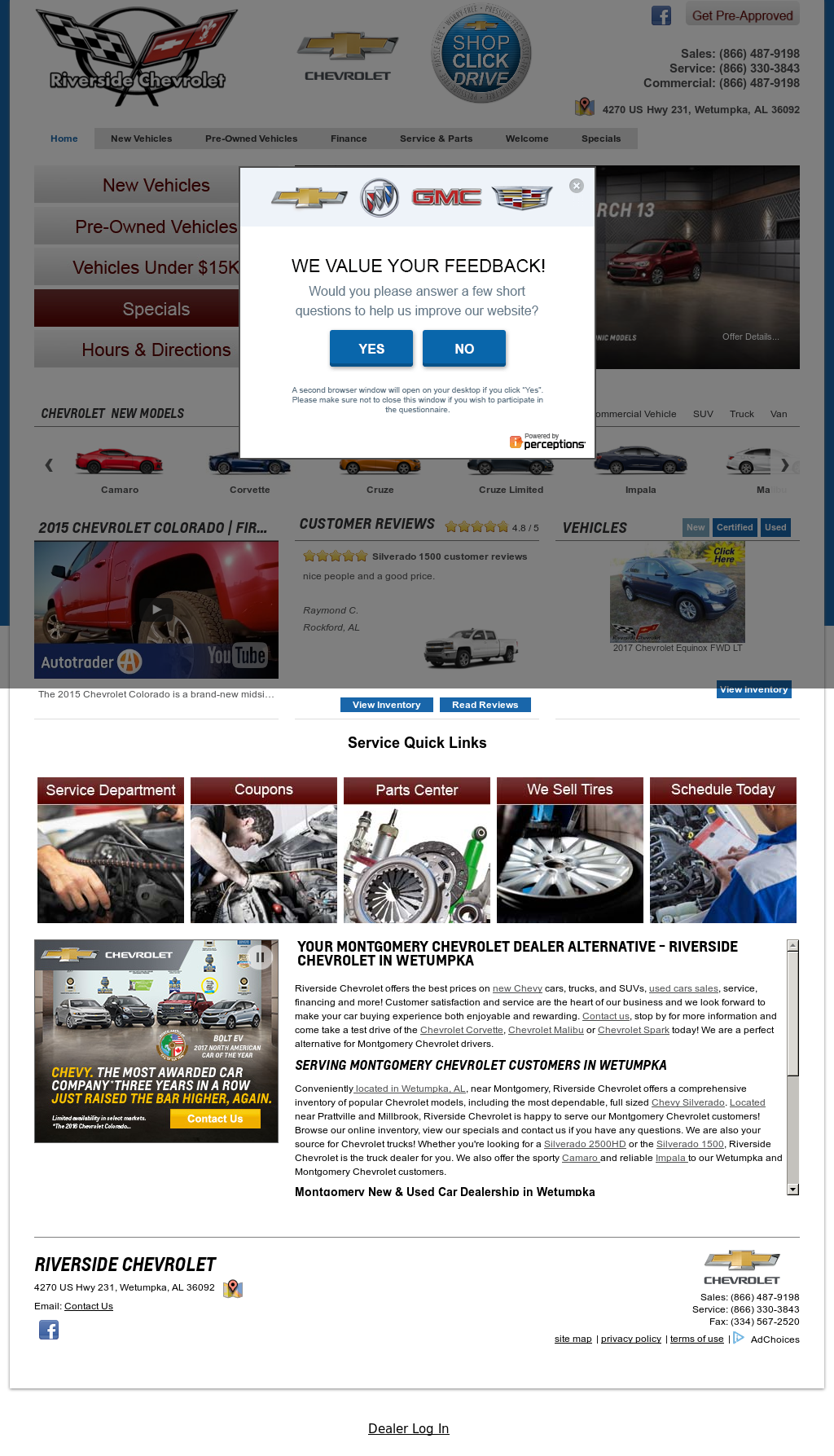Riverside Chevrolet Olds Website History