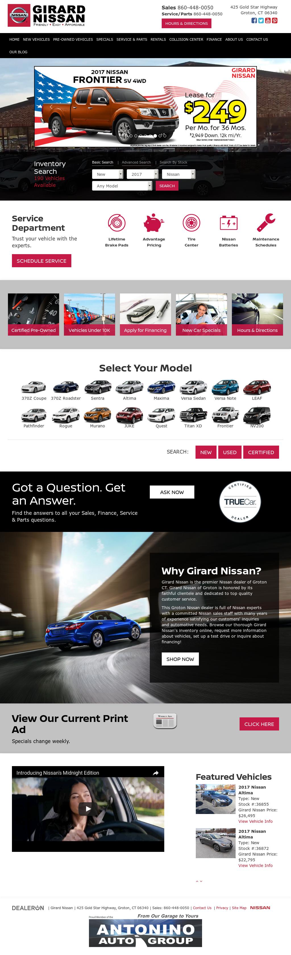 Girard Nissan Website History