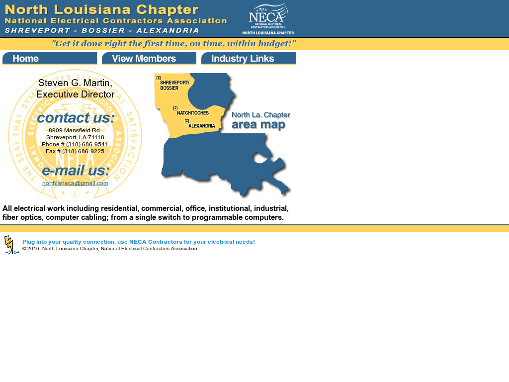 national electrical contractors association northern louisiana chapter website history