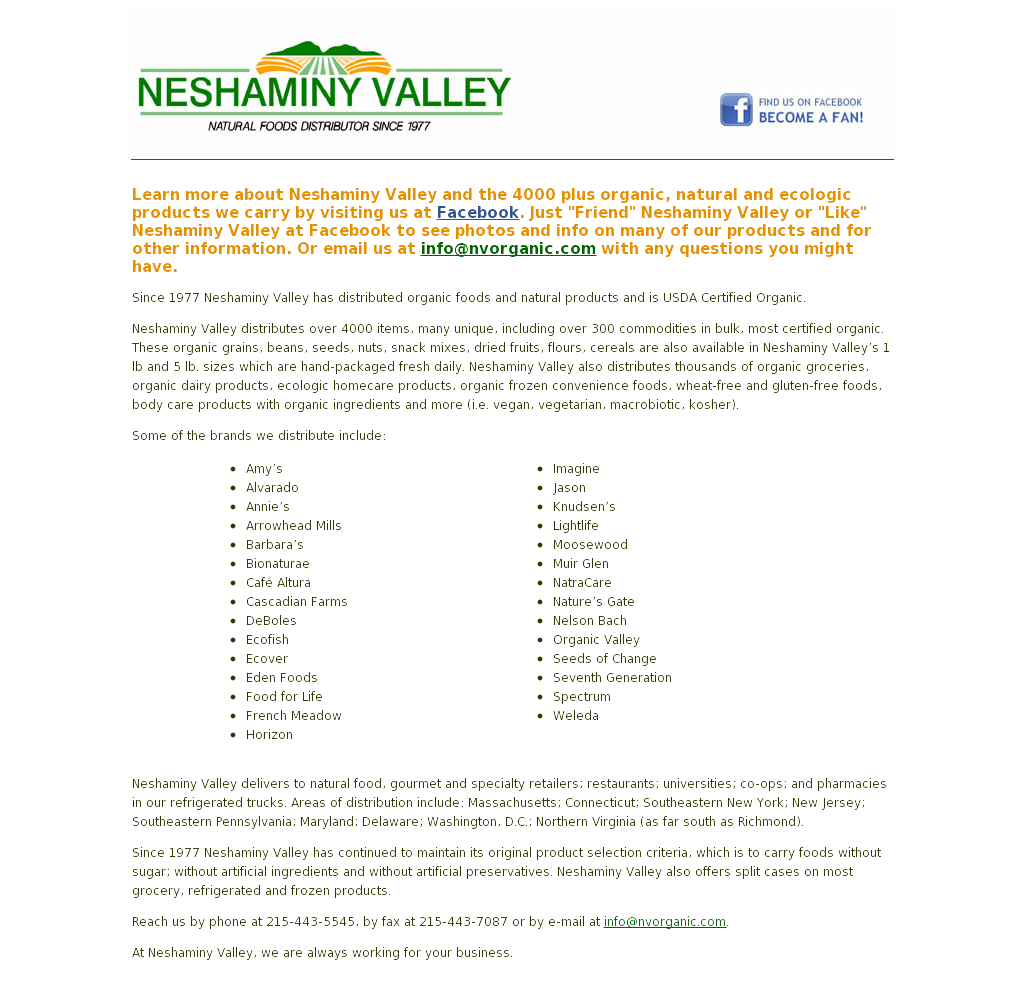 Neshaminy Valley Natural Foods Distributor Competitors