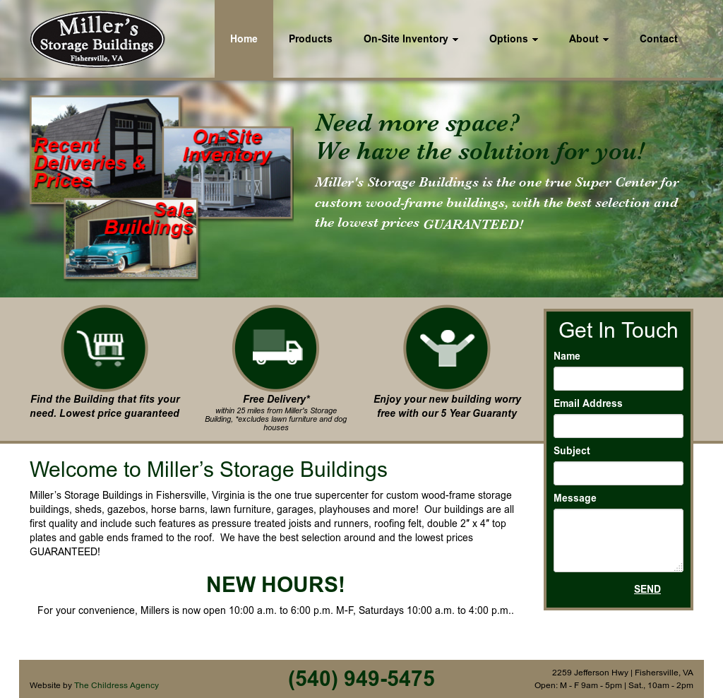 Millers Storage Buildings Website History