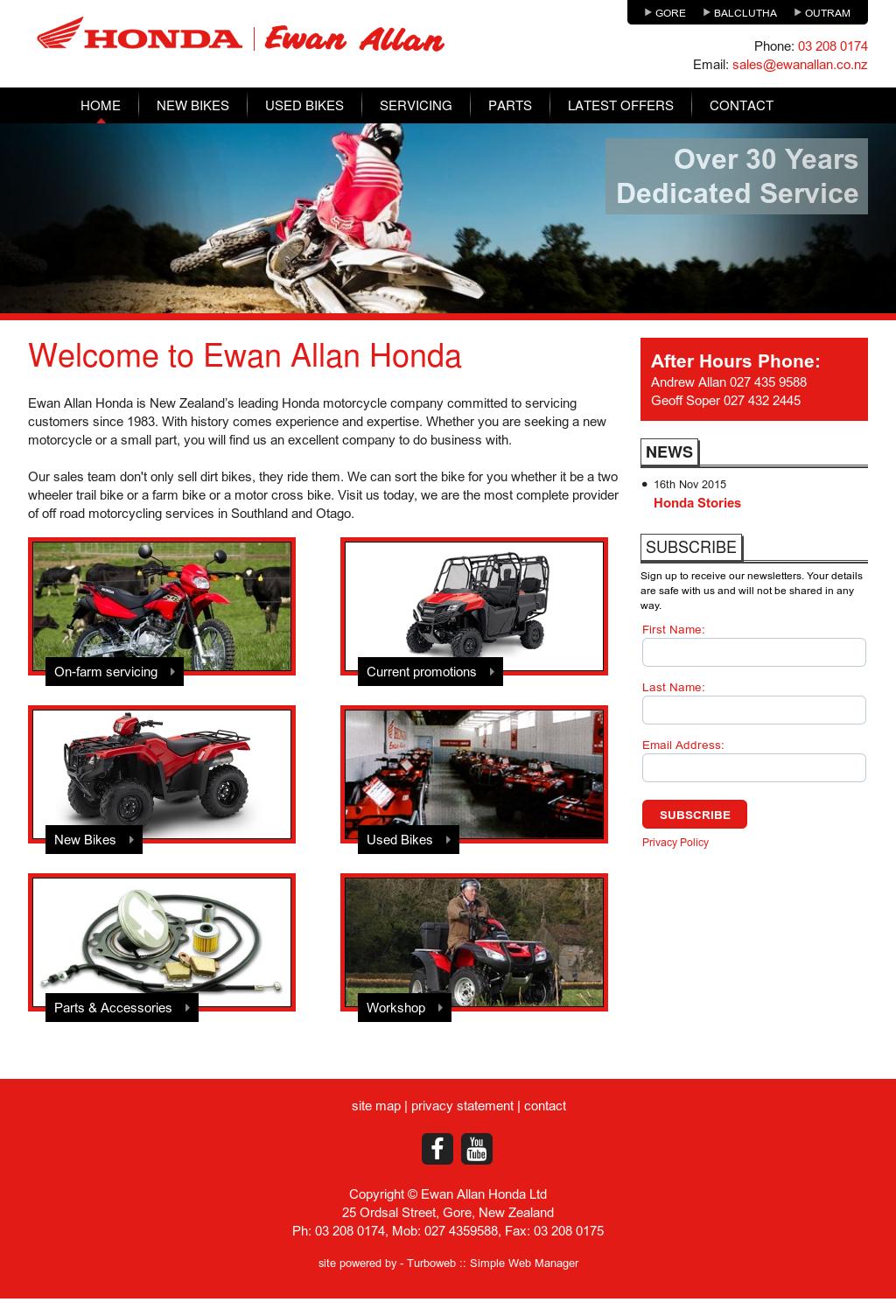 Ewan Allan Honda Website History