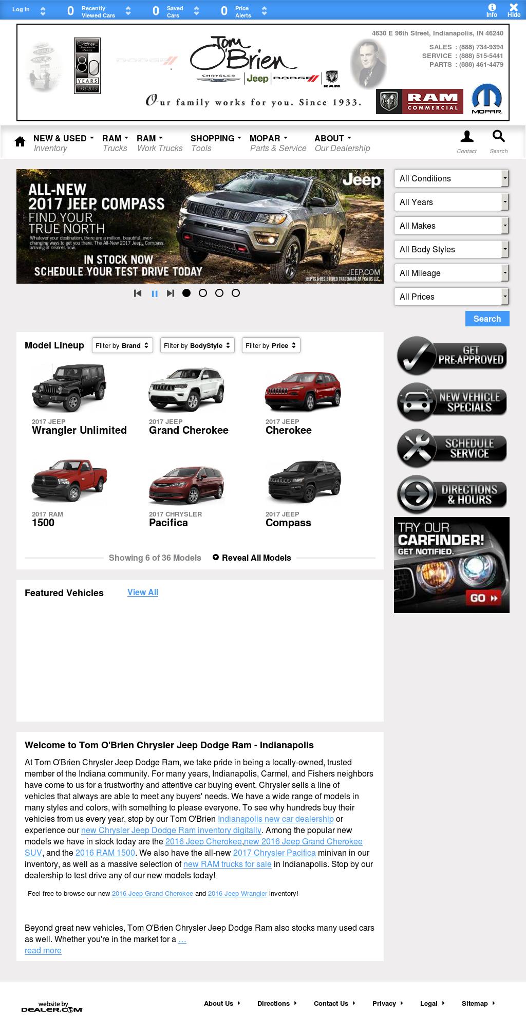 Tom Ou0027brien Chrysler Jeep Dodge Ram   Indianapolis Website History