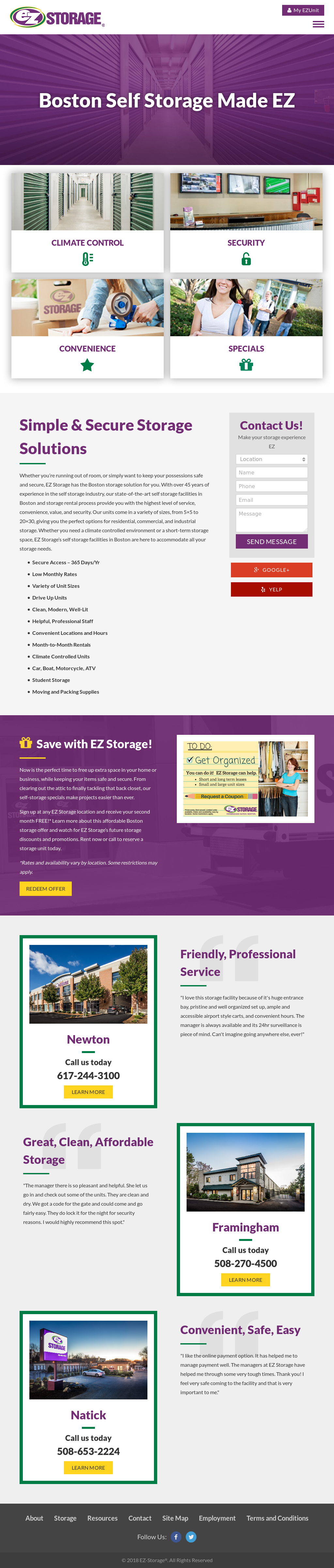 Framingham Ez Storage Amenities Website History