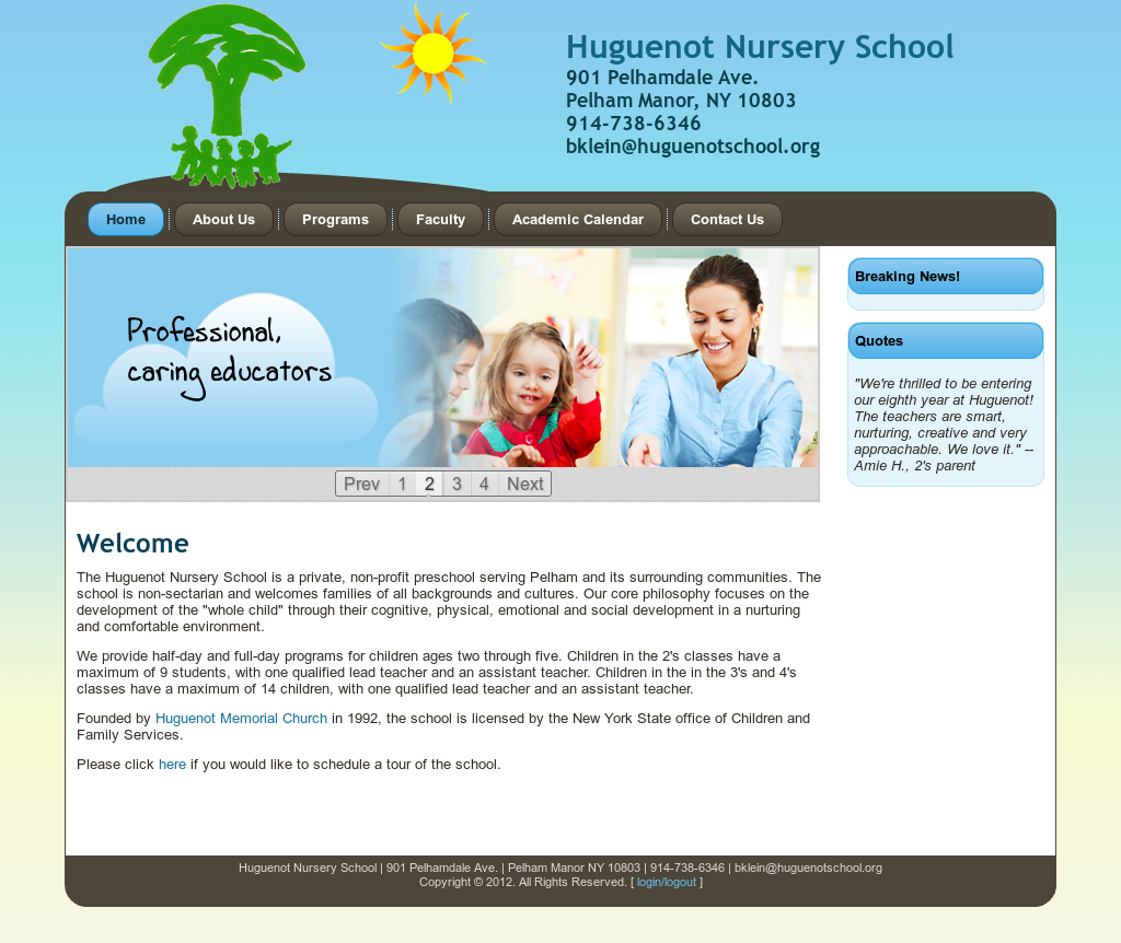 Huguenot Nursery School Website History