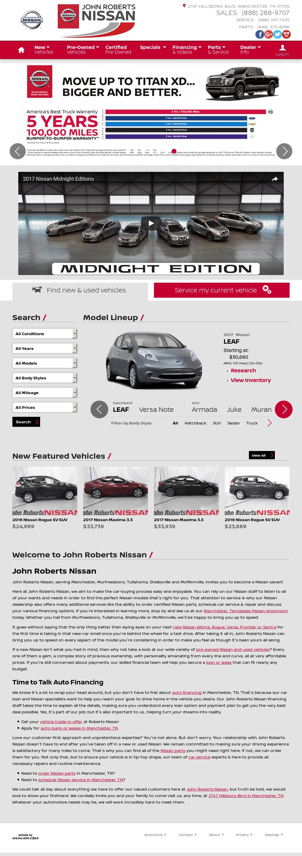 Roberts Nissan Website History