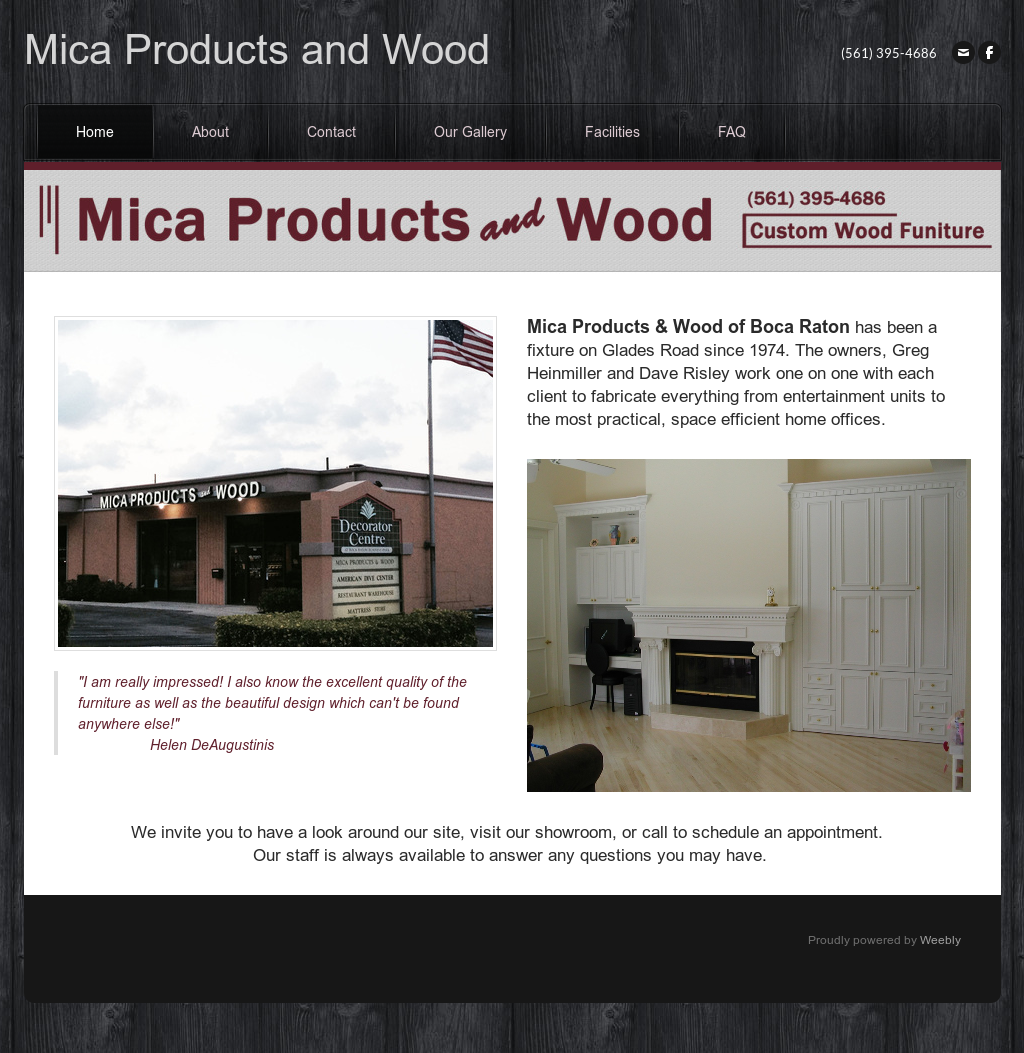 Mica Products And Wood Of Boca Raton S Website Screenshot On May 2017