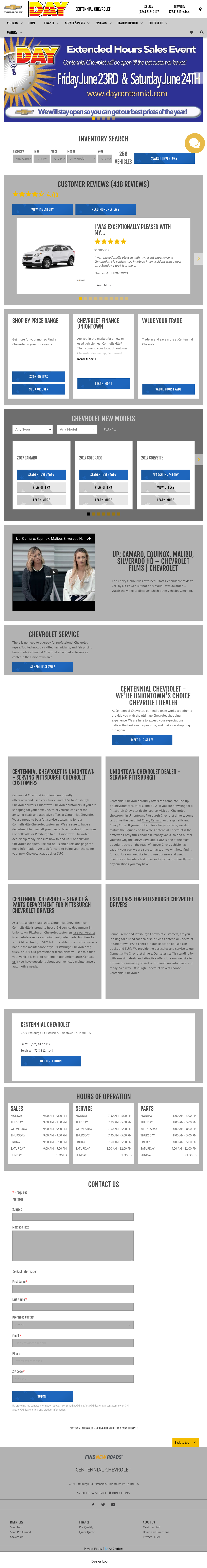 Centennial Chevrolet Website History