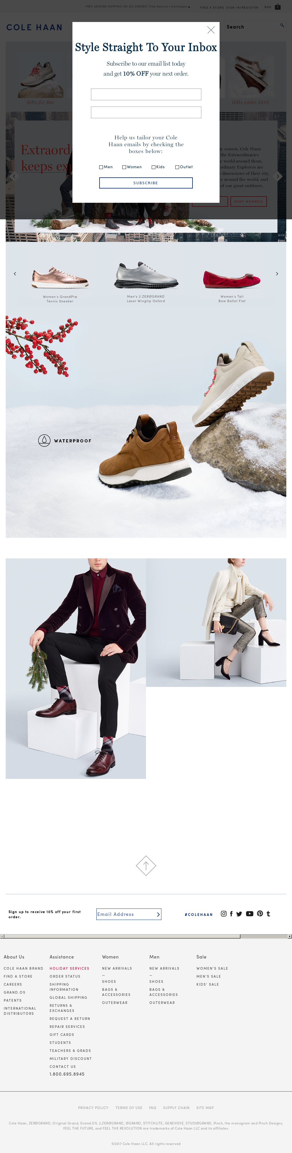 Cole Haan website history