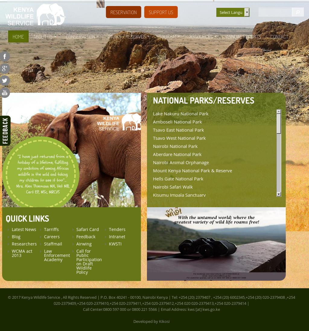 Kenya Wildlife Service's website screenshot on Feb 2018