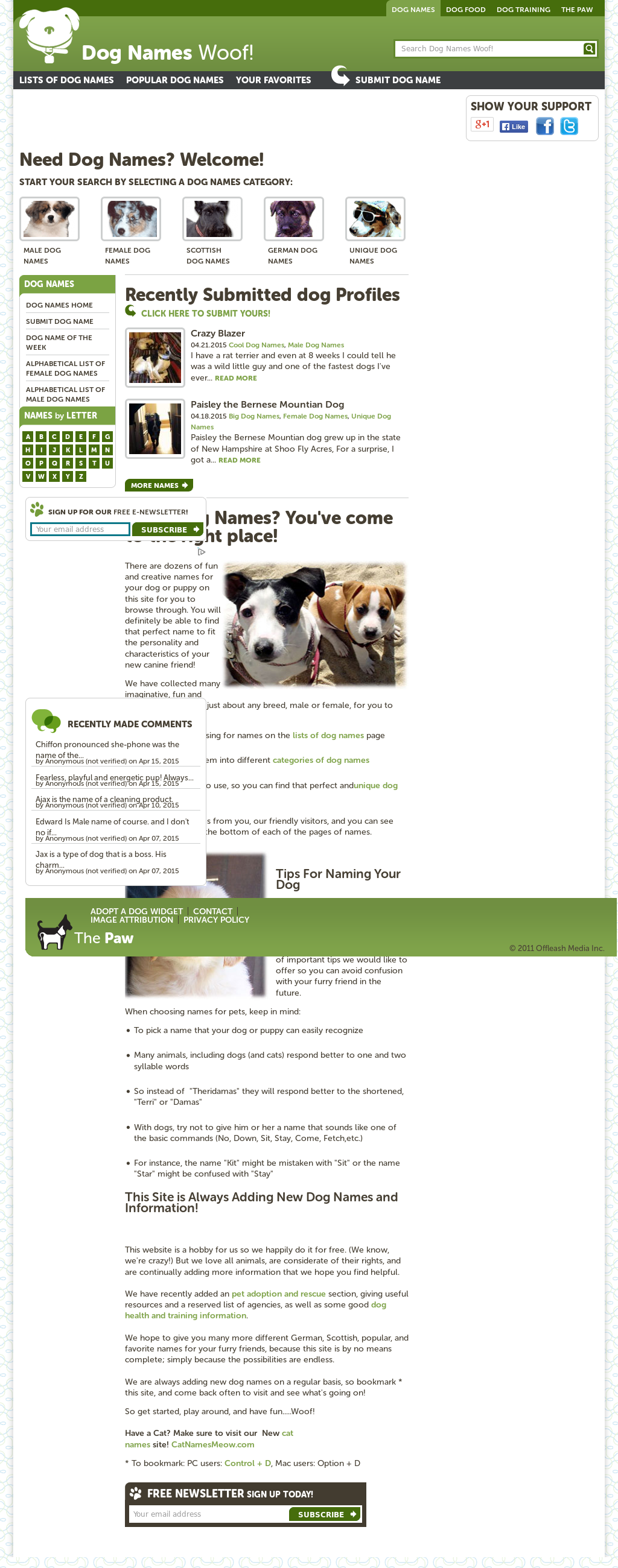 Owler Reports - Dog Names Woof Blog Top 10 Cute Male Puppy