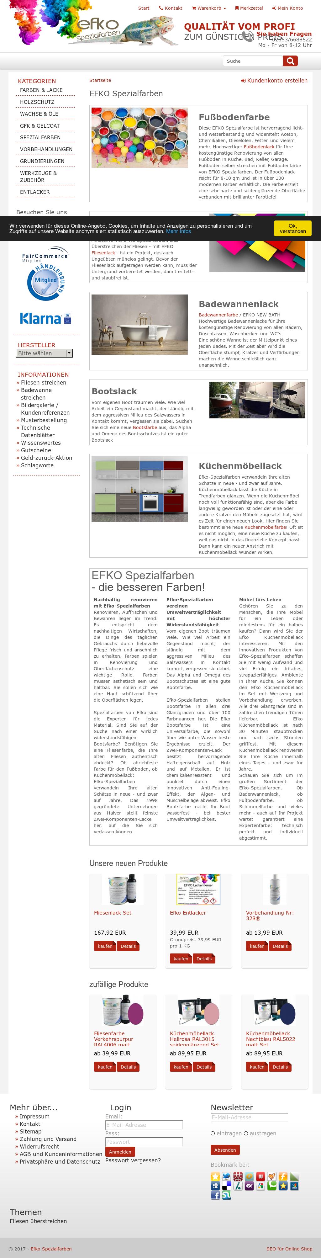 Efko Spezialfarbenu0027s Website Screenshot On May 2017