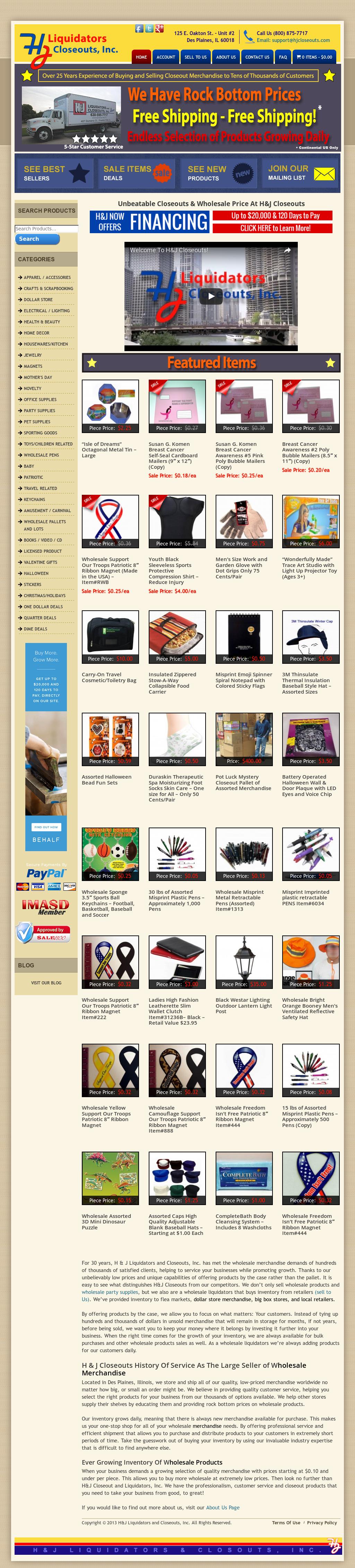 H & J Liquidators And Closeouts, Inc  - Wholesale Product