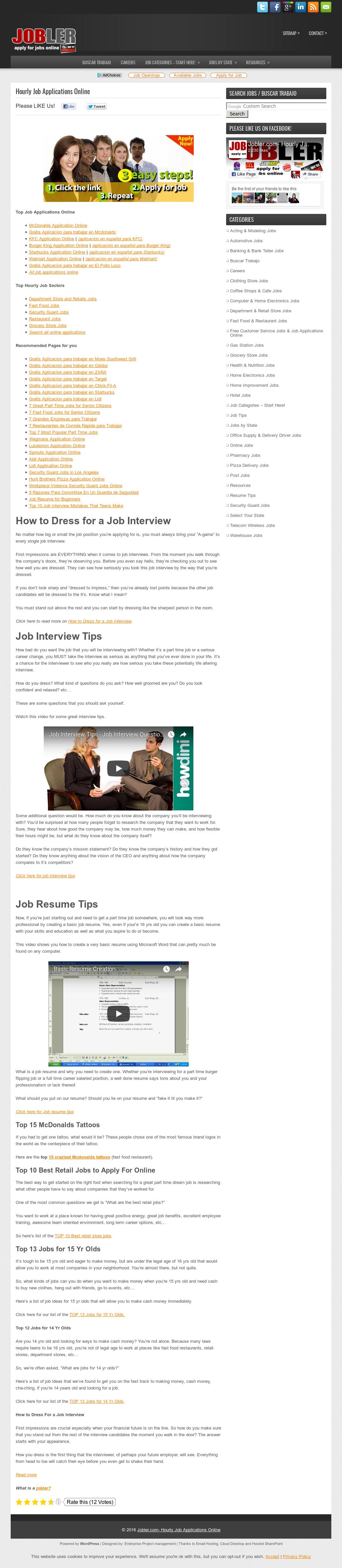 online job applications for teens