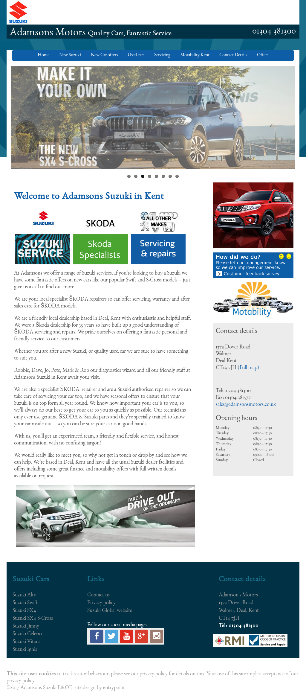 Adamson's Motors website history