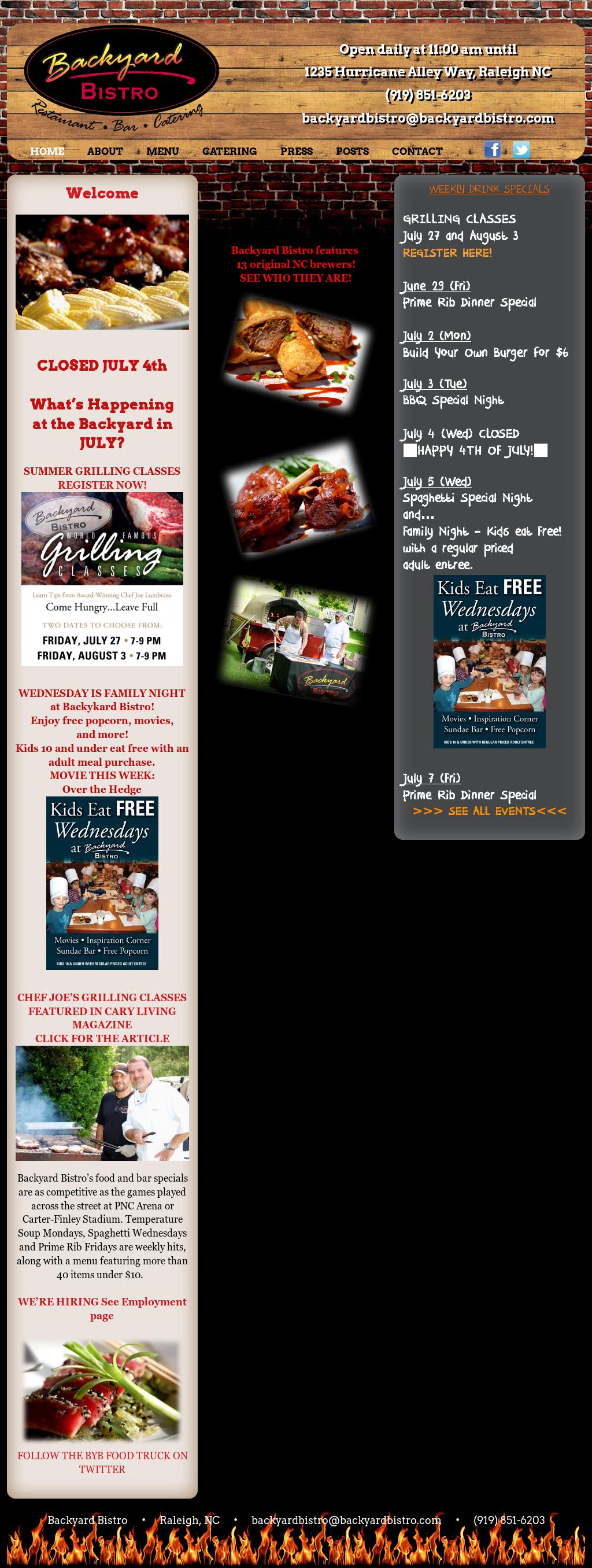 Backyard Bistro Website History