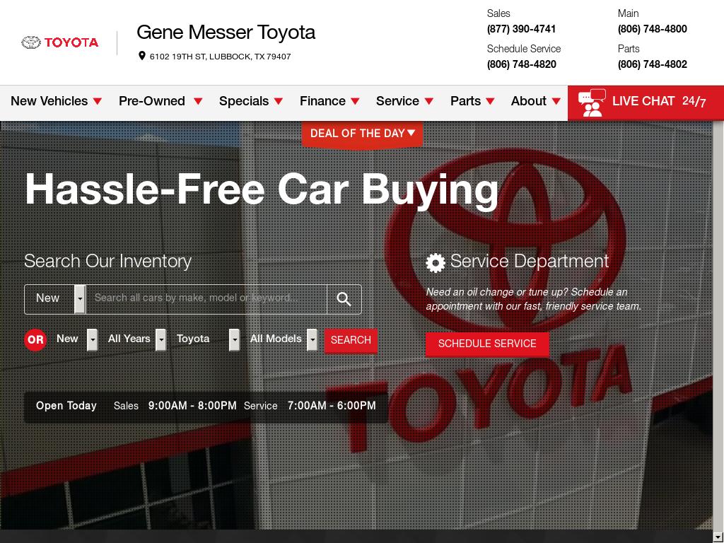 Gene Messer Toyota Website History