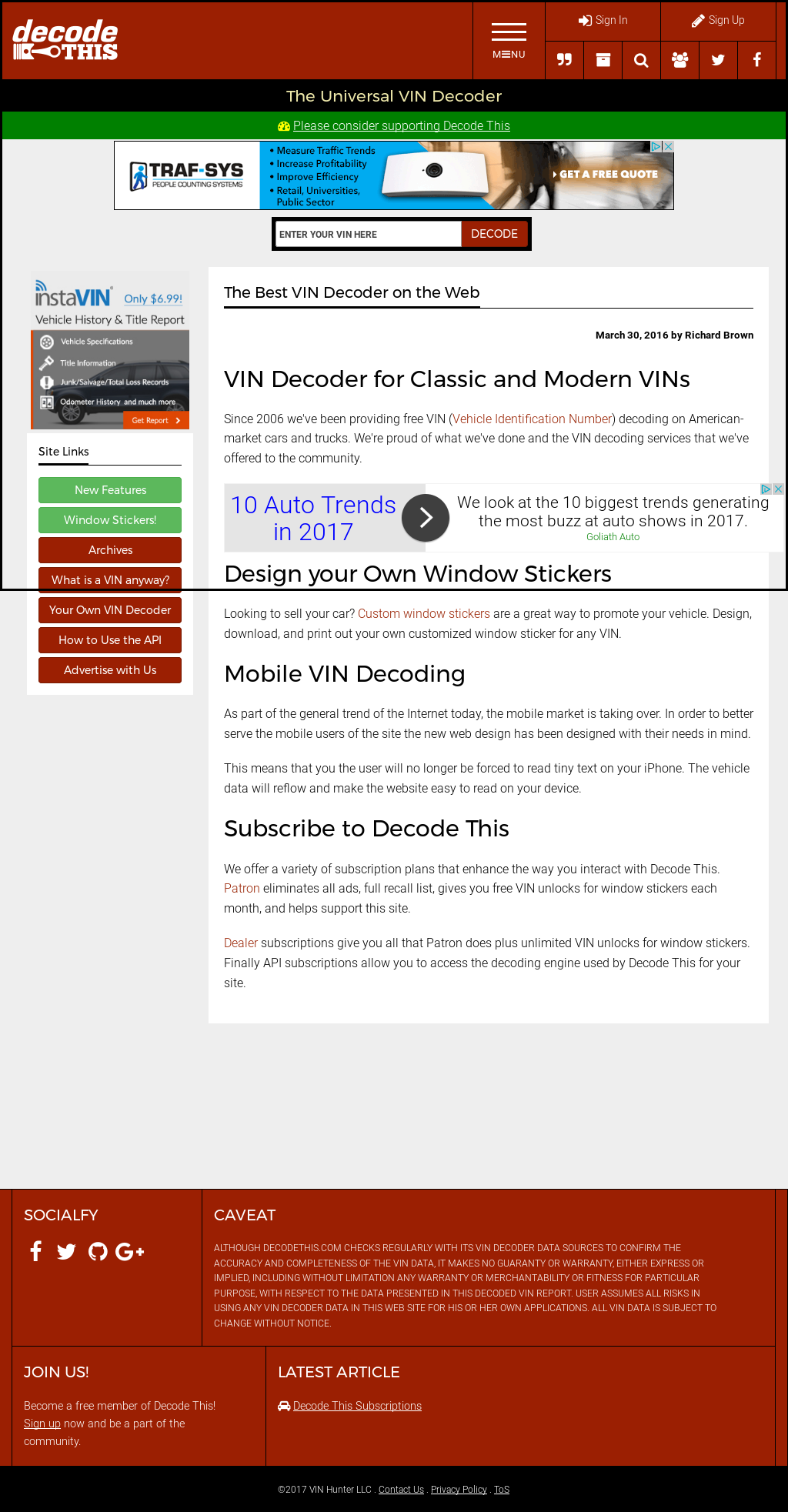 Decode This! Free Vin Decoder Competitors, Revenue and