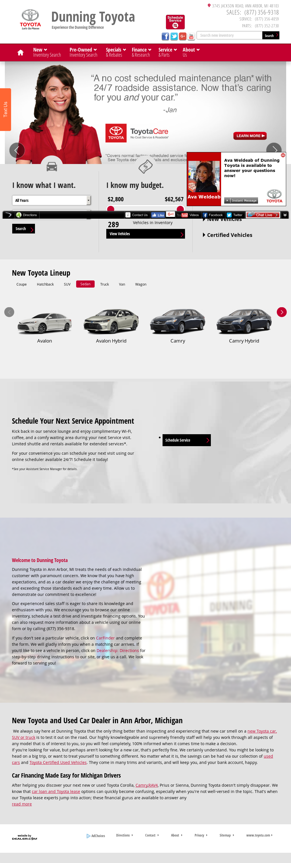 Dunning Toyota Scion Website History