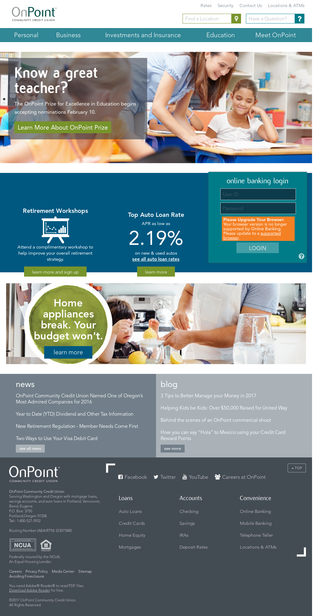 onpoint community credit union competitors, revenue and employees