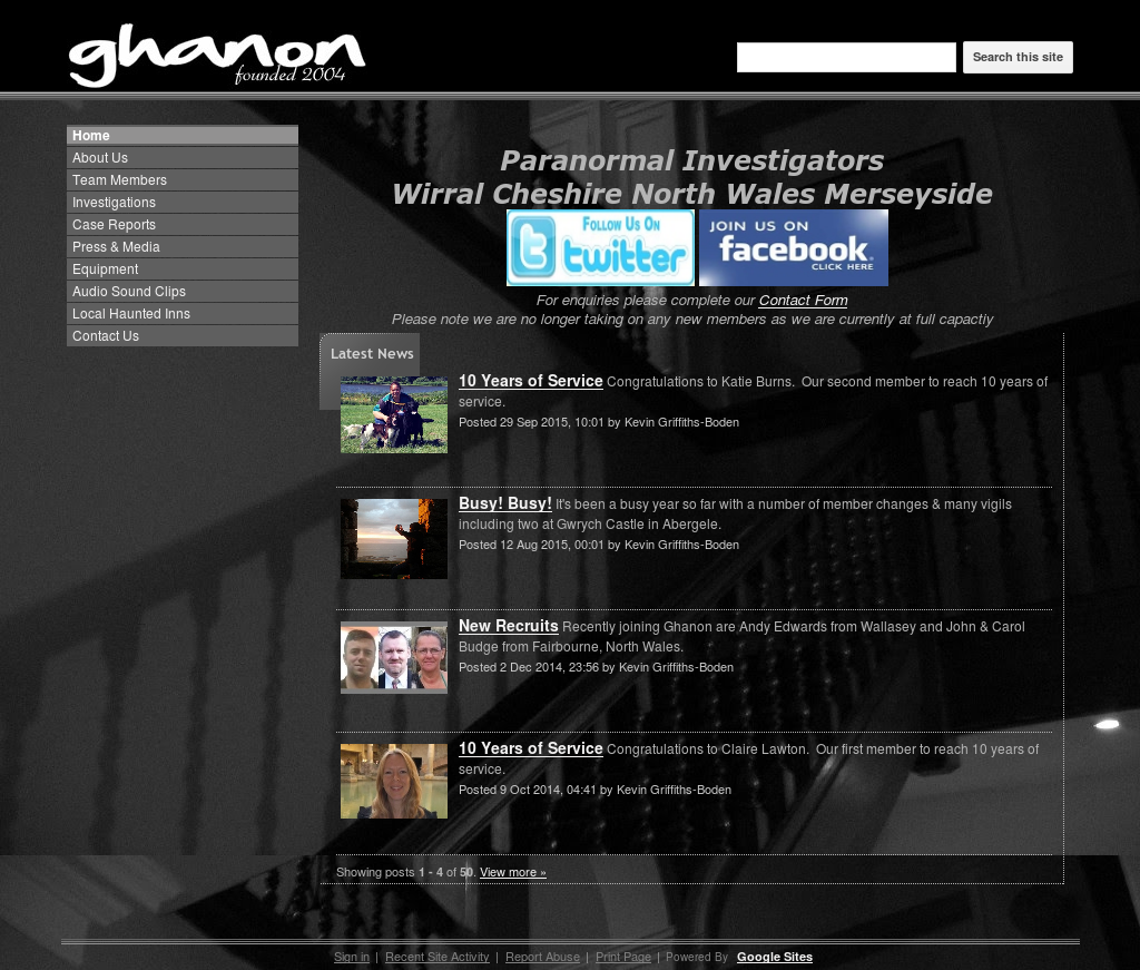 Ghanon: Paranormal Investigators Wirral Cheshire North Wales