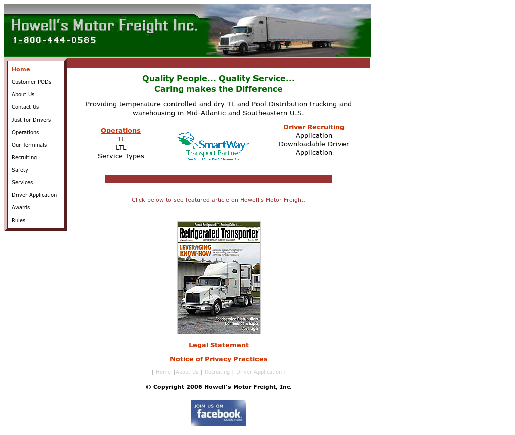 Howell's Motor Freight website history