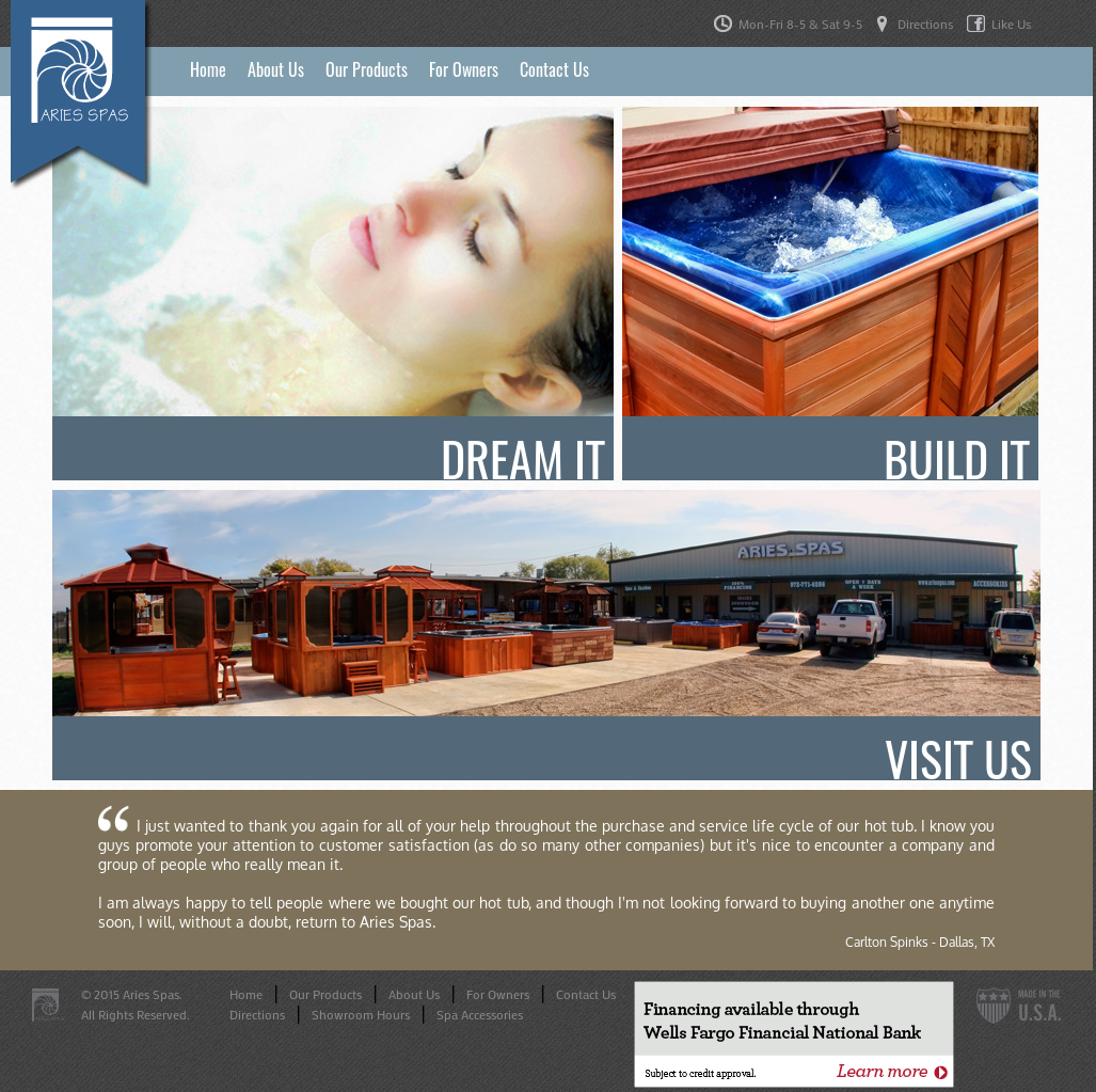 Aries Spas Website History