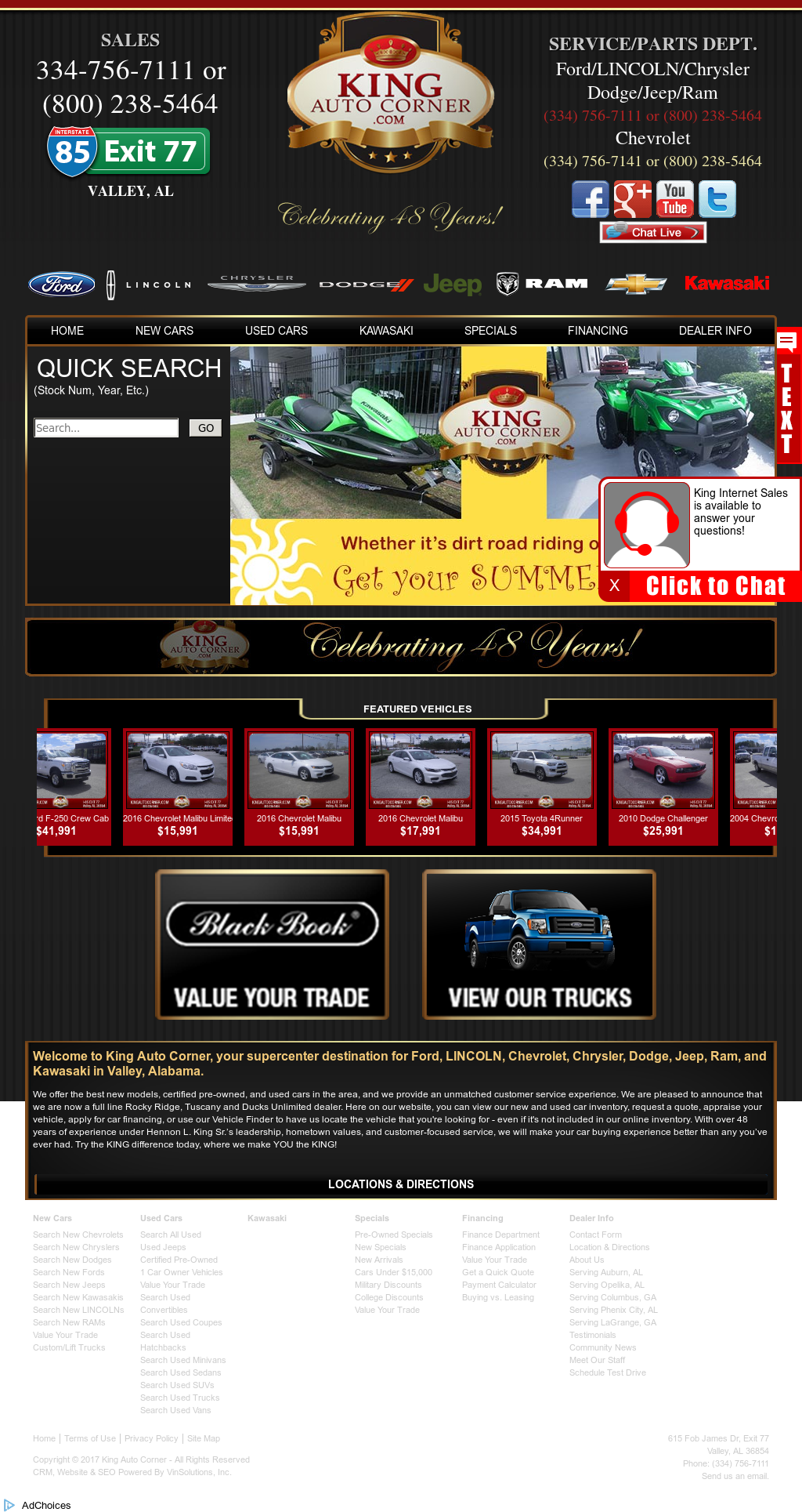 King Auto Corner Valley,Al Website History