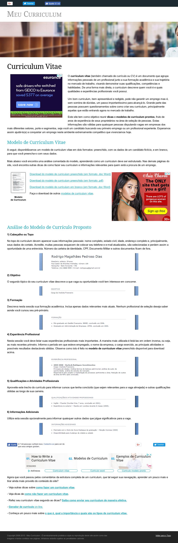 meu curriculums website screenshot on jul 2018