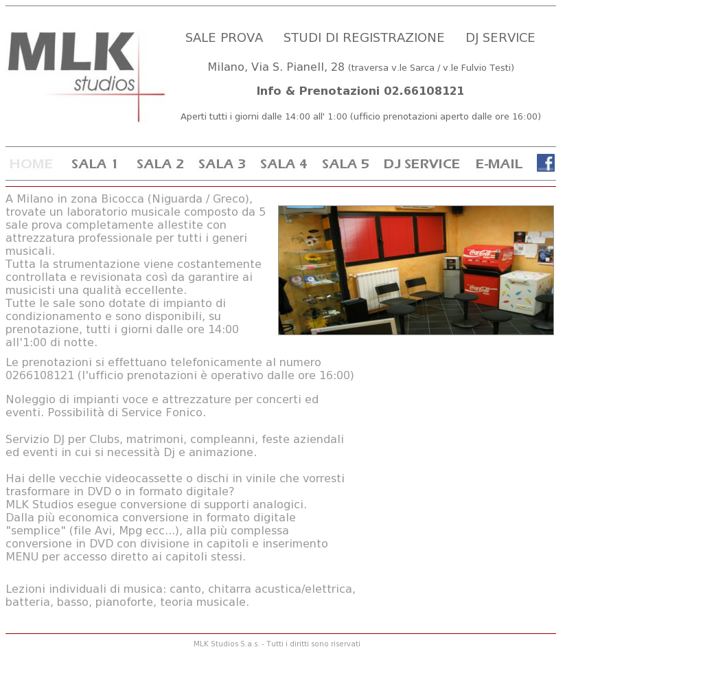 Studio La Sala Milano mlk studios sala prove milano competitors, revenue and