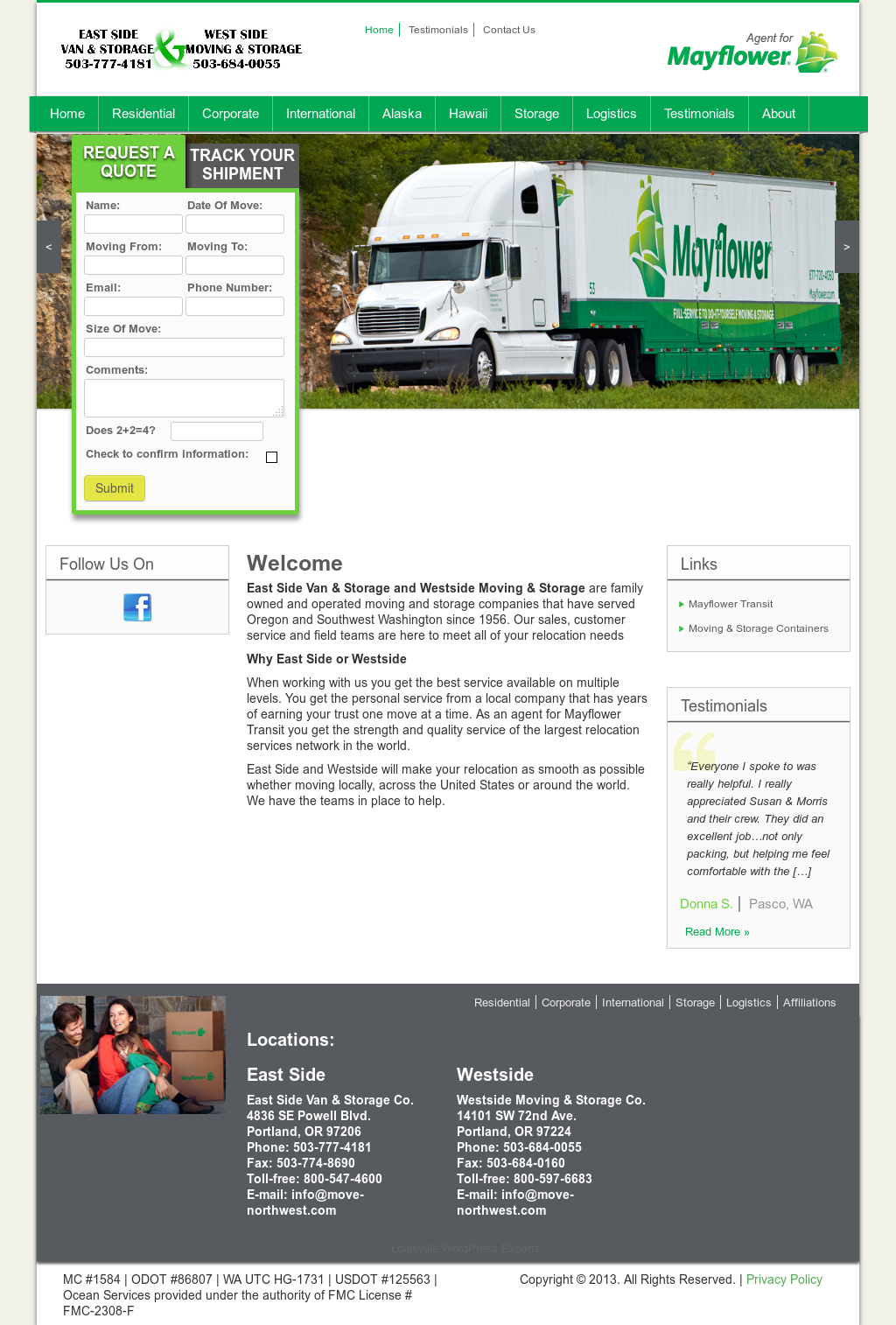 Eastside Van U0026 Storage / Mayflower Transit Website History