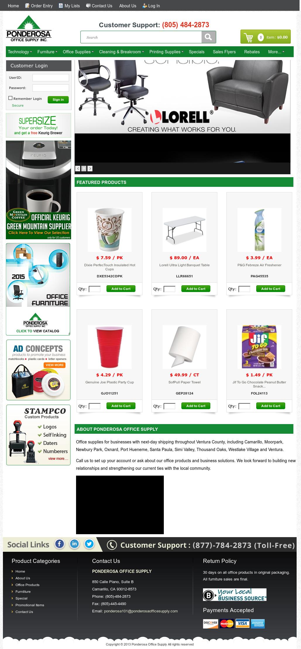 Ponderosa Office Supply Website History