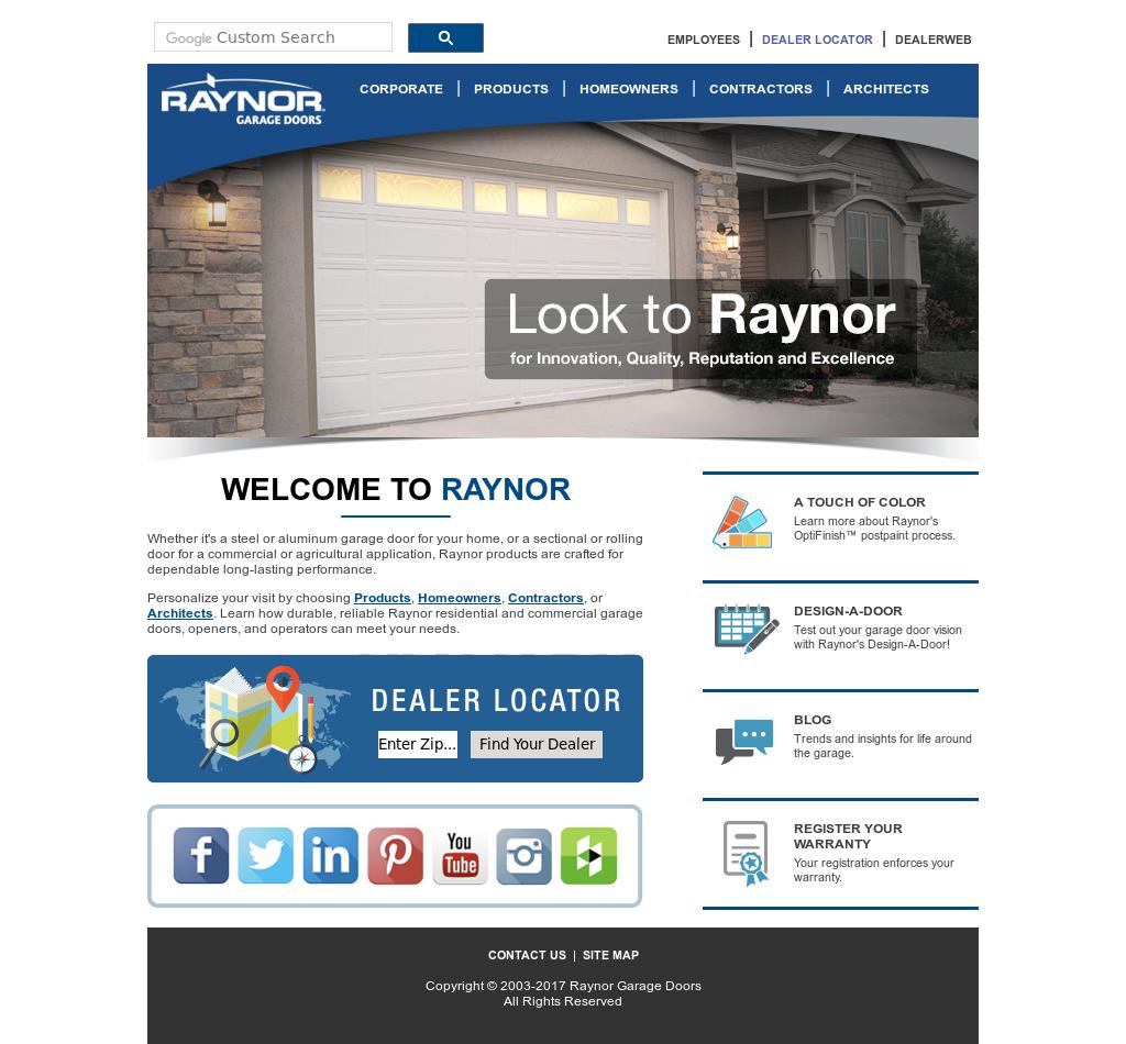 Raynor Garage Doors Website History