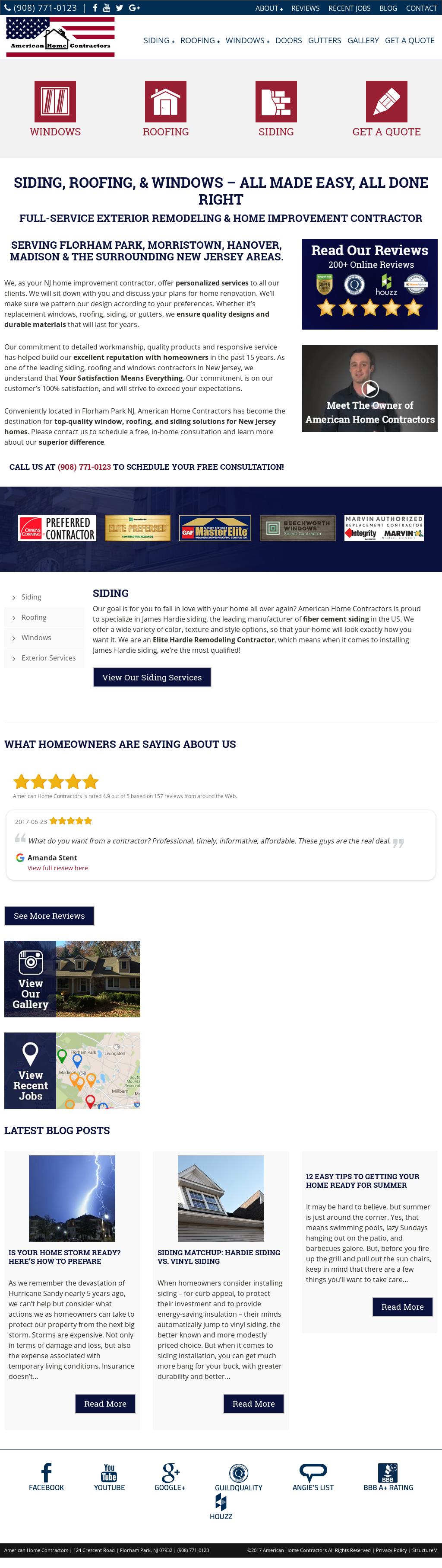 American Home Contractors 908 771 0123 S Website Screenshot On Jun 2017