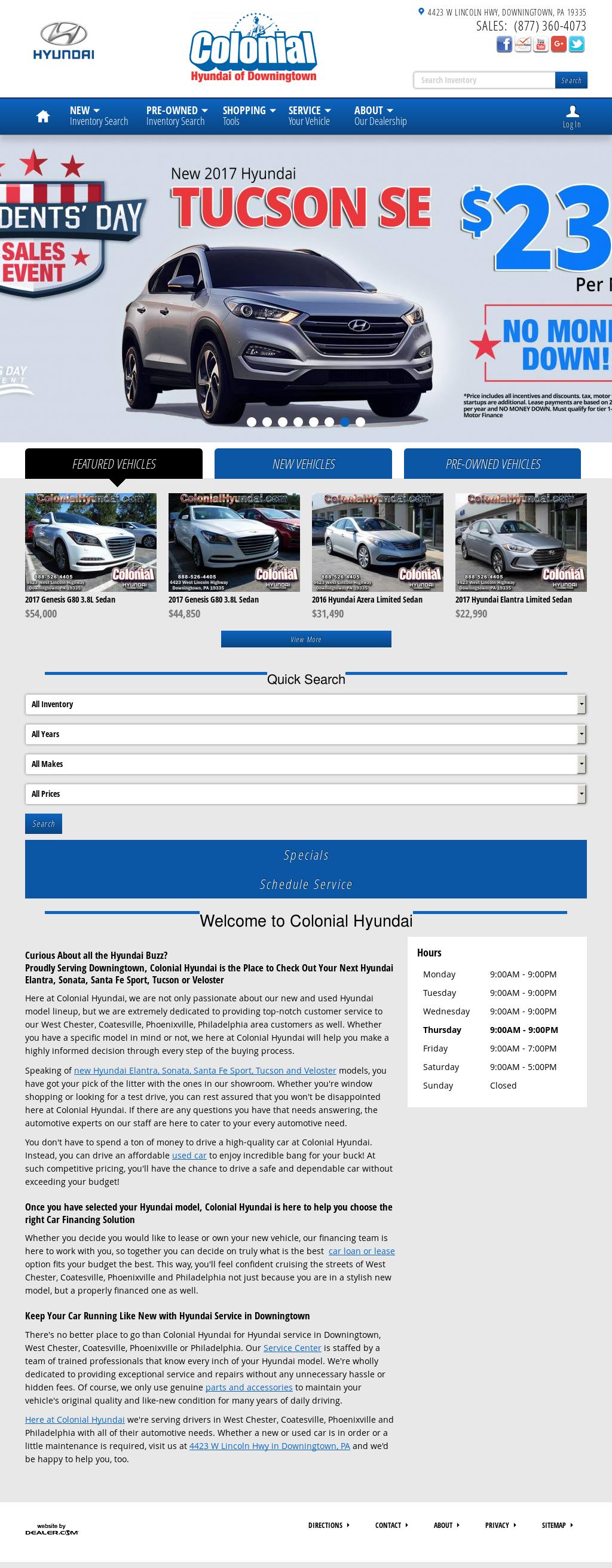 Colonial Hyundai Website History