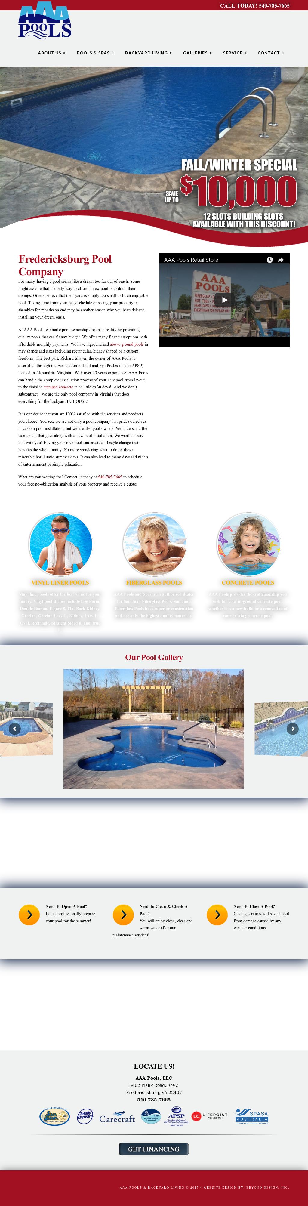 Aaa Pools Website History