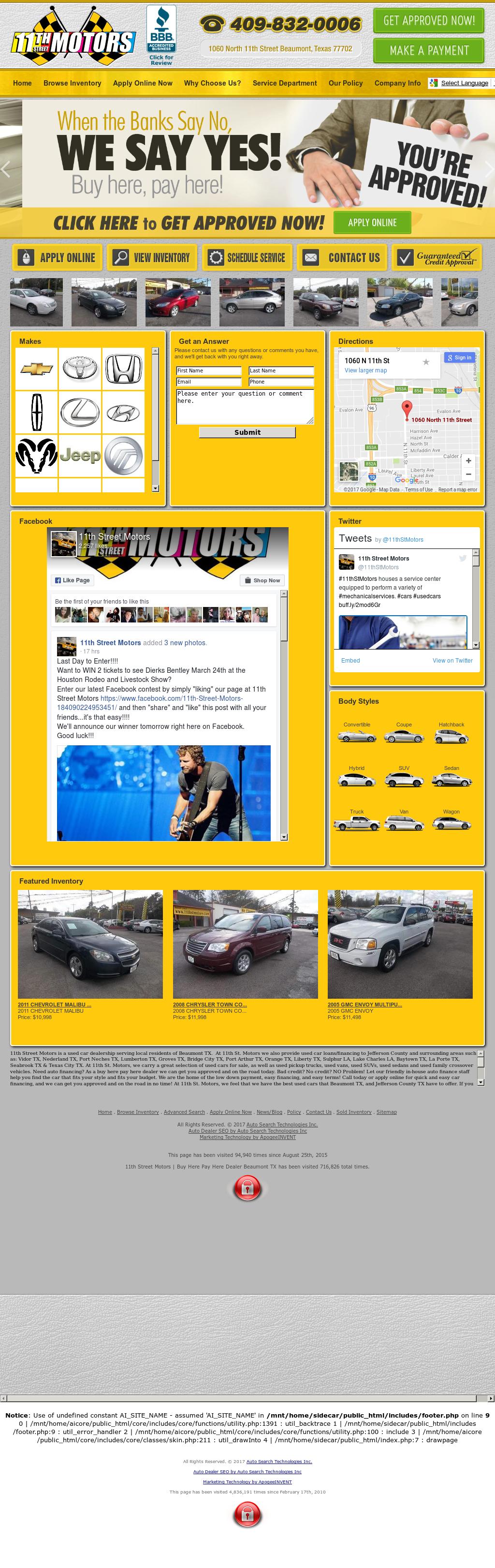 11th Street Motors website history