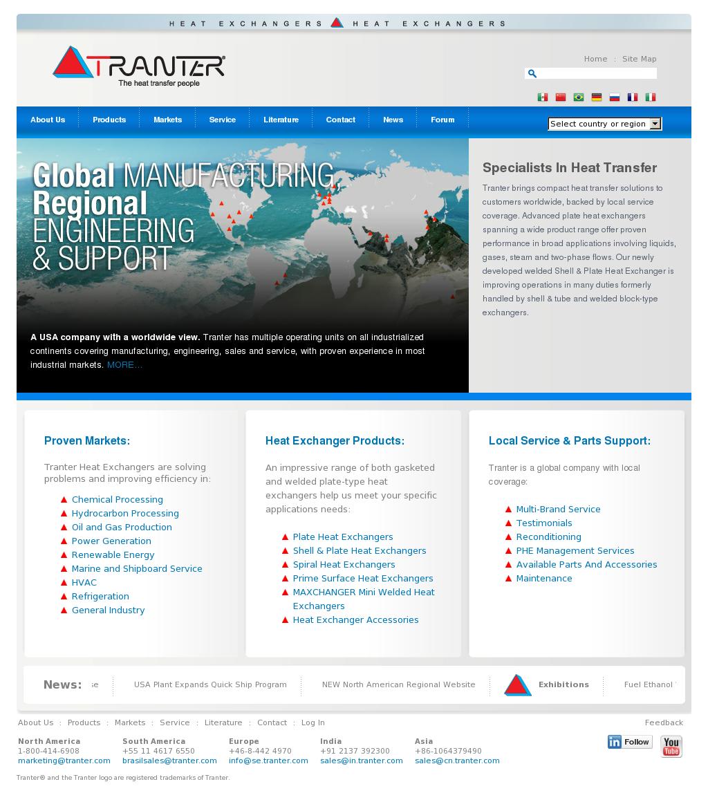 Tranter headquarters ремонт теплообменников газовых котлов в москве